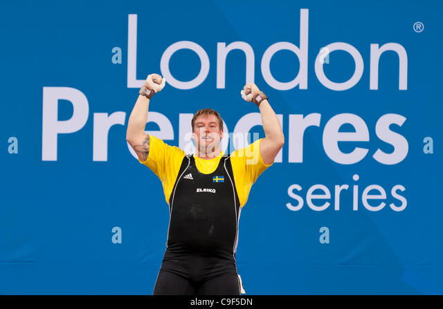 Jim GYLLENHAMMAR of Sweden competing in the Men's +105kg London Prepares Weightlifting International Invitational, - Stock Image