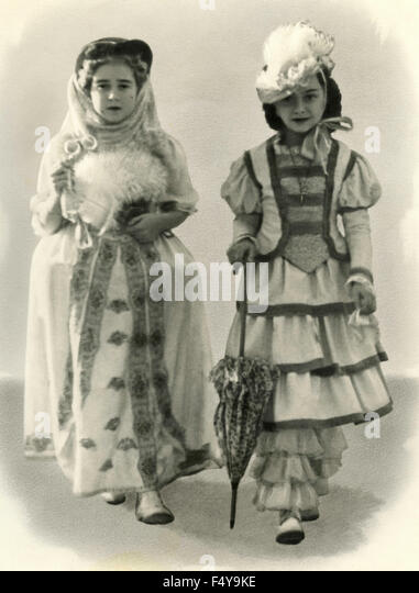 Two girls with clothes nineteenth century - Stock Image