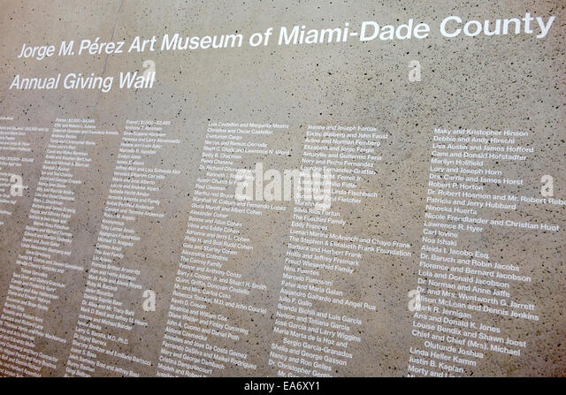 Miami Florida Museum Park Jorge M. Perez Art Museum Miami PAMM list donors annual giving wall - Stock Image
