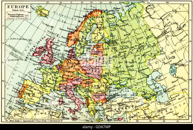 A 1930's map of Europe. - Stock Image