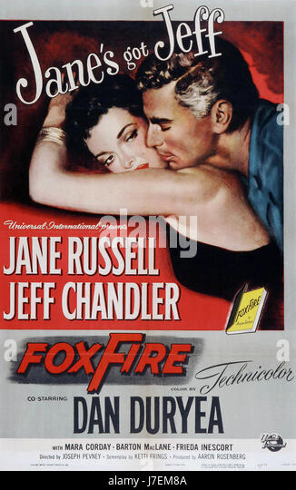 FOXFIRE Poster for 1955 Universal Pictures film with Jane Russell and Jeff Chandler - Stock-Bilder