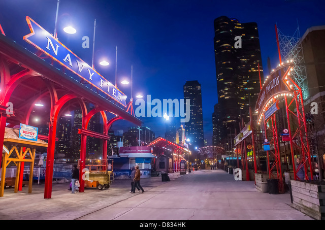 The Navy pier in Chicago - Stock Image