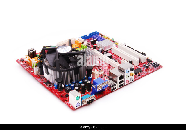 This shows a motherboard component of a computer on a white background. - Stock Image