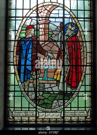 St Cuthberts Church,Carlisle,Cumbria,England,UK interior - Saint Cuthbert Window - Stock Image