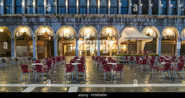 Restaurant Quadri at St Marks square, nobody, Venedig, Venezia, Venice, Italia, Europe, - Stock Image