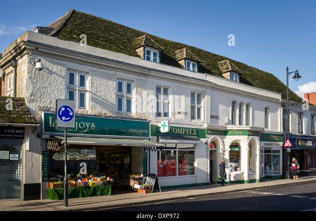 Fruiterer and Pharmacy in centre of Melksham UK - Stock Image