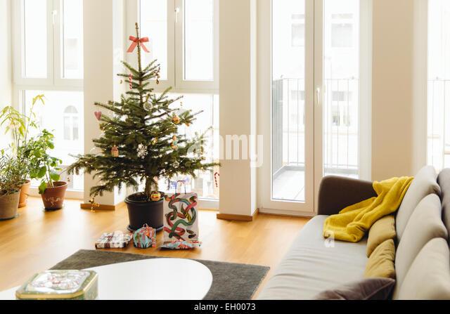 balcony decorated christmas stock photos balcony. Black Bedroom Furniture Sets. Home Design Ideas