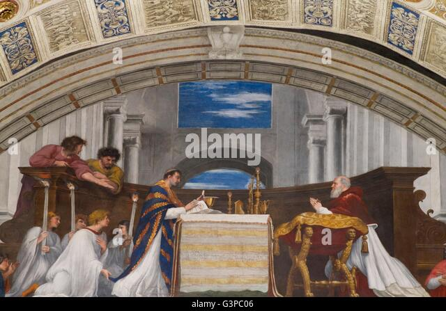 Mass at Bolsena, 1512-14, by Raphael, Room of Heliodor, Raphael Rooms, Apostolic Palace, Vatican Museums, Rome, - Stock Image