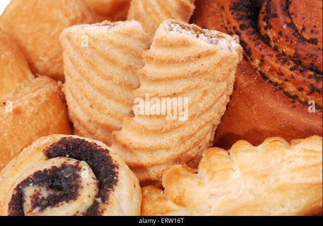 Background from vary fresh buns and biscuit - Stock-Bilder