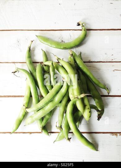 Freshly harvested string beans - Stock Image