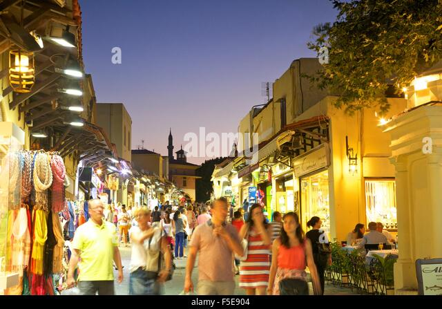 Sokratous Street, Rhodes, Dodecanese, Greek Islands, Greece, Europe - Stock Image