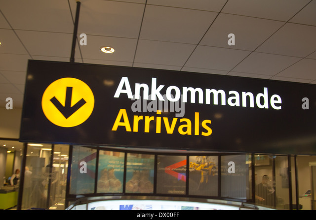 Arrivals sign at Arlanda Airport in Stockholm, Sweden. - Stock-Bilder