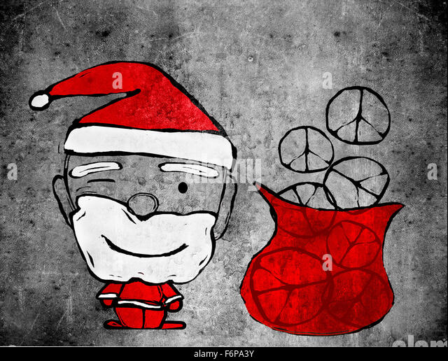 Santa Claus and peace symbols digital illustration - Stock-Bilder