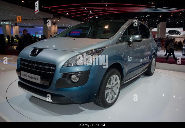 Paris, France, Paris Car Show, Peugeot 3008 Hybrid Engine 4, Front - Stock Image