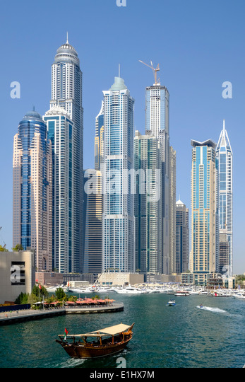 Many modern  apartment skyscrapers at Marina district in Dubai United Arab Emirates - Stock Image