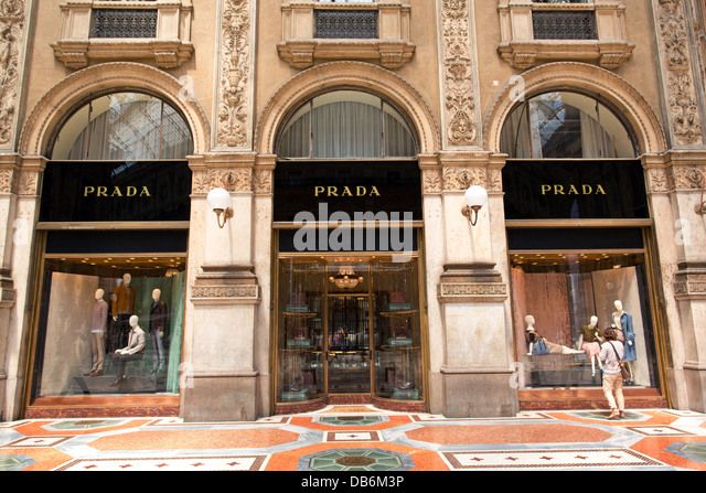 The Prada store in the Galleria Vittorio Emanuele 11, in Milan. - Stock Image