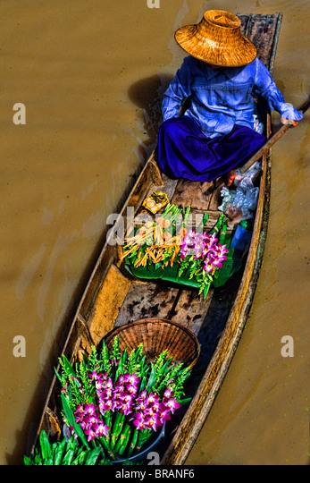 Wonderful color graphic image cover at the famous Floating Market at Damnernsaduak near Bangkok Thailand - Stock Image