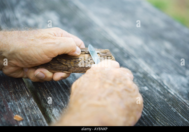 Man whittling piece of bark, cropped view of hands - Stock Image