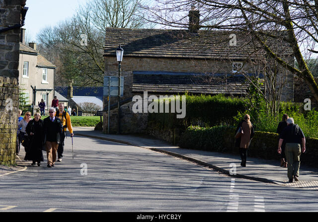 Medieval village of Eyam, better known as the plague village, peak district Derbyshire England - Stock Image