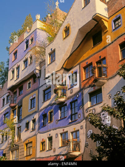Vienna, Austria.  Facade of Hundertwasserhaus, an apartment block designed by architect and artist Friedensreich - Stock Image