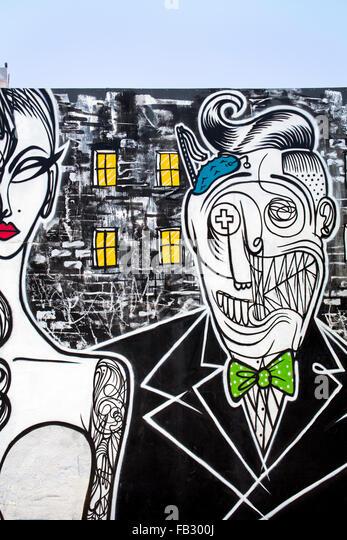 Graffiti street art in the Wynwood Art District of Miami, Florida, USA - Stock Image