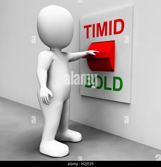 Timid Bold Switch Means Fear Or Courage - Stock Image
