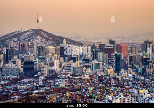Seoul, South Korea City skyline. - Stock Image