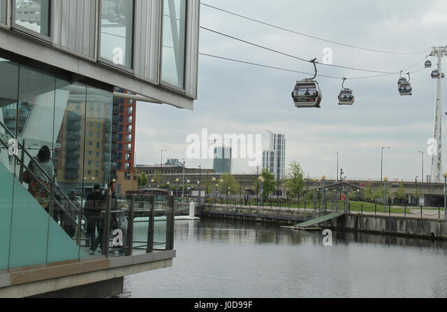London, UK. 12th Apr, 2017. London, United Kingdom - April​ ​12: People preppare to board the Emirates Air Line - Stock Image