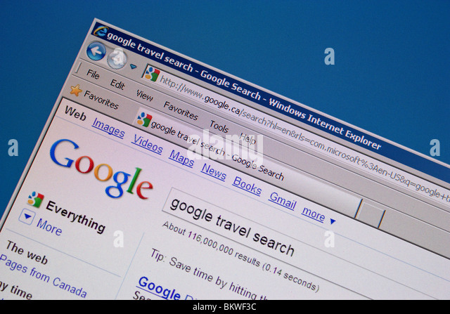 google travel search computer screen - Stock-Bilder