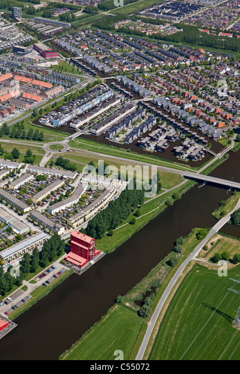 The Netherlands, Almere, Modern residential areas. Aerial. - Stock-Bilder