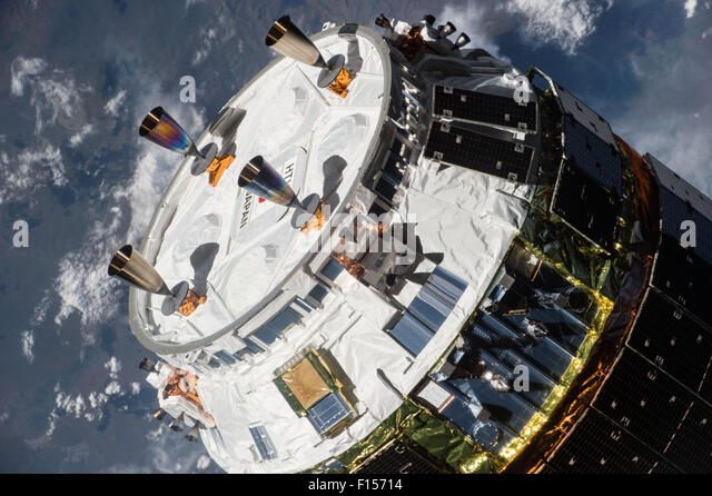 The Japan Aerospace Exploration Agency Kounotori 5 H-II Transfer Vehicle cargo spacecraft approaches the International - Stock Image