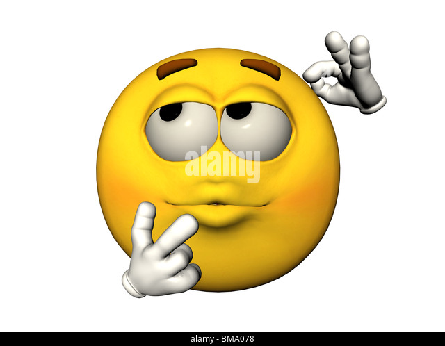 3D illustration of a thinking emoticon - Stock Image