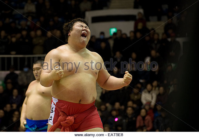 During a Ssireum wrestling match, athletes emotions run high. - Stock Image