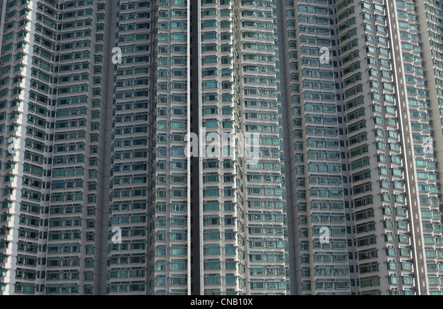 Aerial view of urban skyscrapers - Stock Image