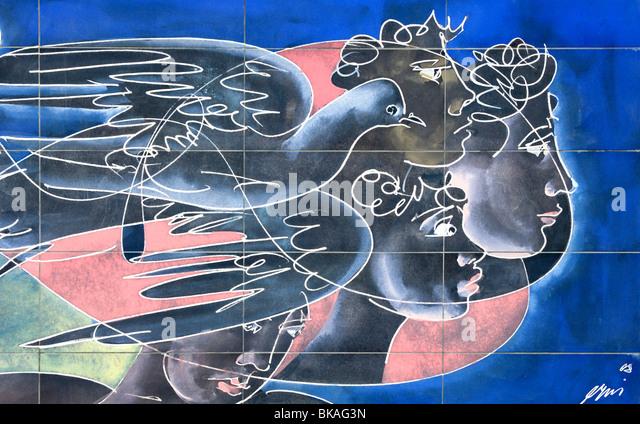 Wall mural Ta Panta Rei by the Swiss artist Hans Erni, Geneva, Switzerland - Stock Image