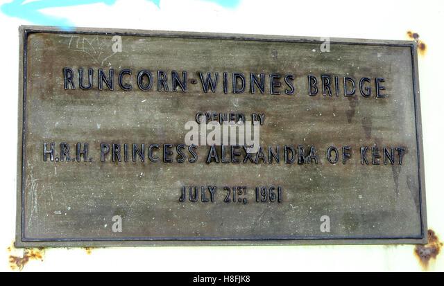 Runcorn to Widnes Silver Jubilee road bridge plaque, A533, Halton, Cheshire, England, UK - Stock Image