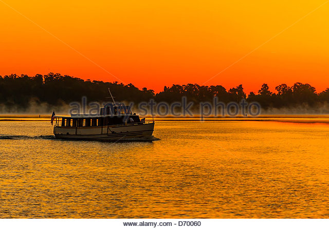 Sunrise on Bay Lake, Walt Disney World, Orlando, Florida USA - Stock Image