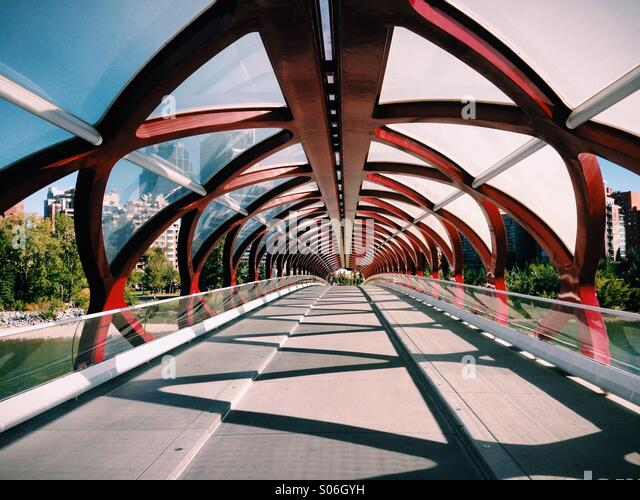 A late summer afternoon on the Peace Bridge in Calgary, Alberta Canada - Stock-Bilder