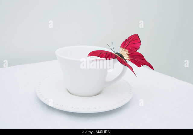 A fake butterfly on a cup - Stock Image