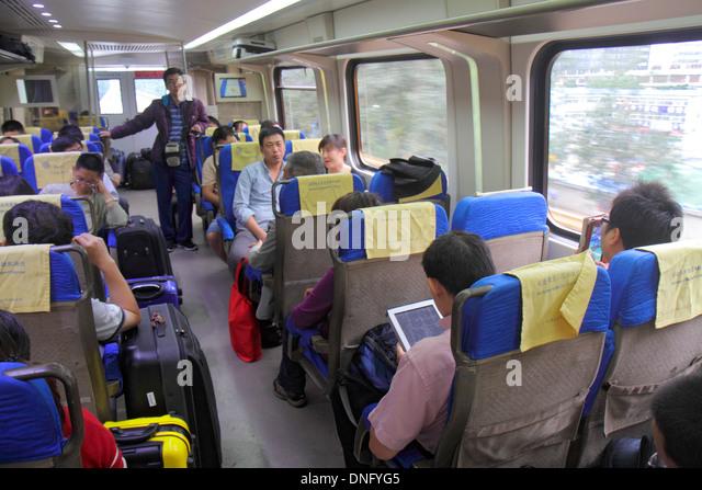China Beijing Airport Express Train public transportation Beijing Capital International Airport PEK onboard cabin - Stock Image