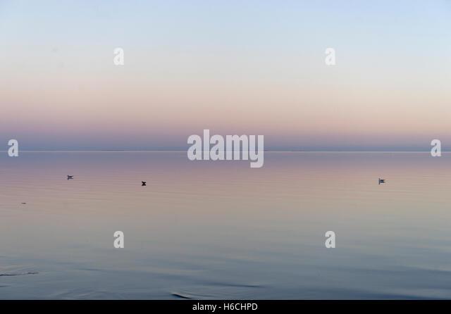 Sunset over the Salton Sea at Bombay Beach, California, USA. - Stock Image