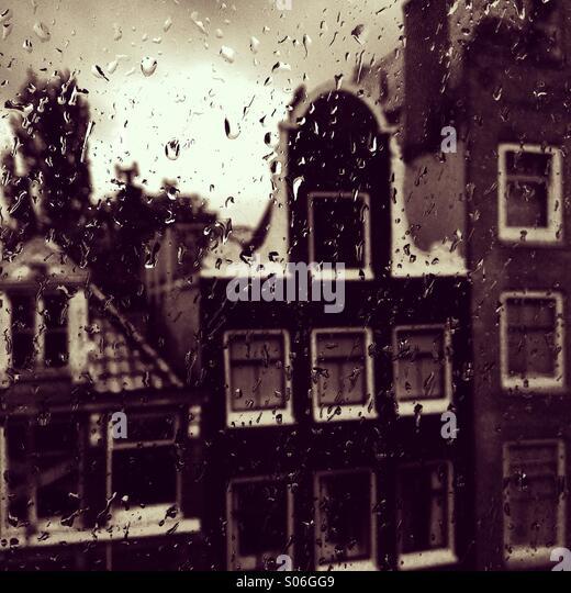Raining day in Amsterdam - Stock Image