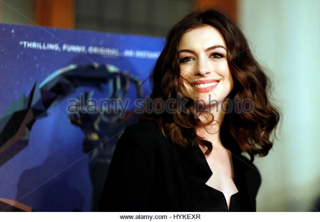 Cast member Anne Hathaway poses at the premiere of the movie 'Colossal' in Los Angeles, California, U.S., - Stock Image