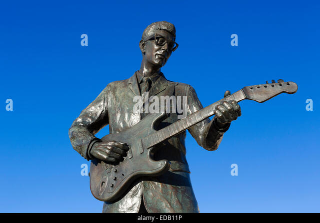 Statue of Buddy Holly on the Walk of Fame in Lubbock, Texas, USA - Stock Image