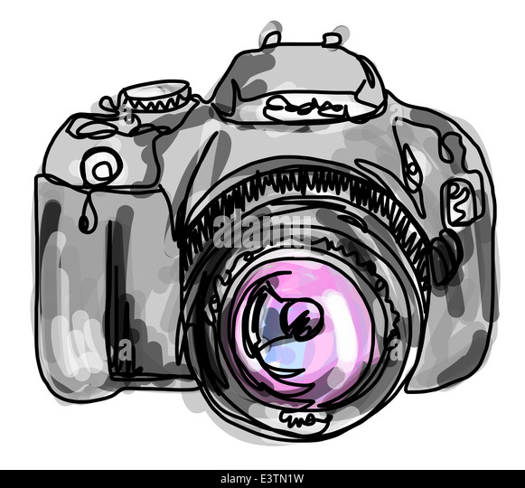 Line Drawing Camera : Camera line drawing stock photos