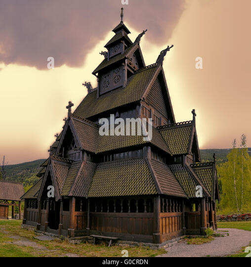 Gol Stave Church in Norway on cloudy day - Stock Image