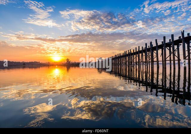 U-Bein Bridge in Mandalay, Myanmar. - Stock-Bilder