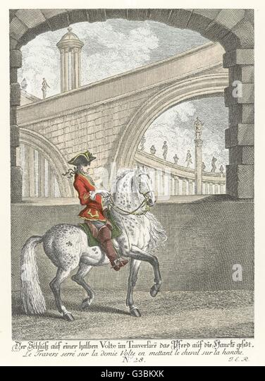 Haute Ecole : Training in riding technique,  turning the horse       Date: 1760 - Stock Image