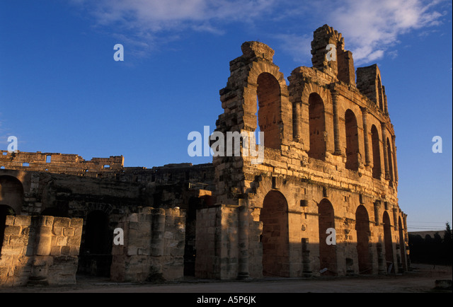 Colosseum of El Jem amphitheatre Roman antiquity from around AD230 Tunisia - Stock Image