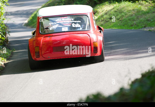 Minis racing at Wiscombe Park hillclimb in Devon UK, July 2014. A set of 18 images - Stock Image